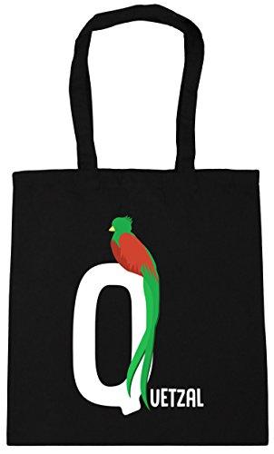 10 Gym Bag 42cm Tote Beach alphabet litres HippoWarehouse Q x38cm Black Shopping animal is quetzal for wxH8qO