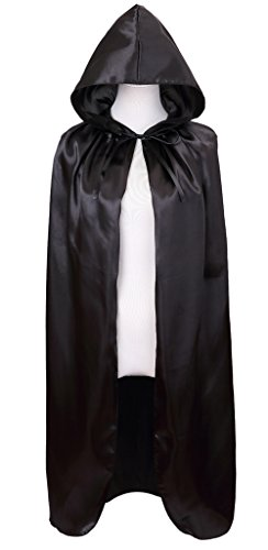Meeyou Deluxe Satin Cloak, Hooded Cape for Boys & Girls Halloween Costume( 40 inches,Black) (Black Girl Halloween Costumes)