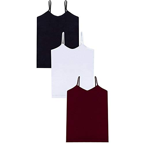 Ruxia Women's Basic Cami Tanks with Adjustable Spaghetti Strap Assorted Colors Pack of 3 S/M ()