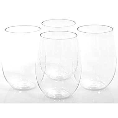 GMG 4 x 16 oz Shatterproof Tritan Plastic Indoor & Outdoor Stemless Wine Glasses. Unbreakable Recyclable Plastic Cups for Wine Water & Cocktails. Great at a Beach Pool Party Boating Patio & Camping