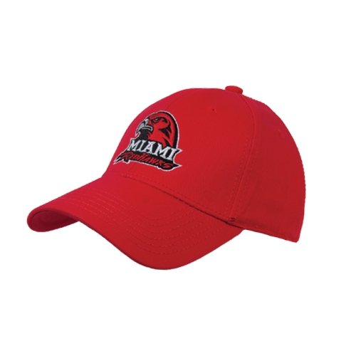 Miami University Red Heavyweight Twill Pro Style Hat 'Miami Redhawks w/Hawk Head'