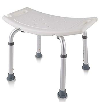 AUFUN Taburete Ducha Silla de Ducha 38-53cm Altura Regulable Taburete baño con Tapones de Goma Antideslizantes de Aluminio y plástico para Mayores, ...