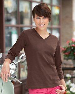 lat-sportswear-womens-ringspun-v-neck-3-4-sleeve-t-shirt