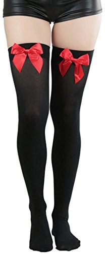 ToBeInStyle Women's Opaque Thigh Hi Stocking With Bow - Black With Red Bow ()
