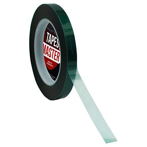 "1/2"" X 72 Yds - Tapes Master 2 Mil Green Powder Coating Masking Tape - High Temperature"