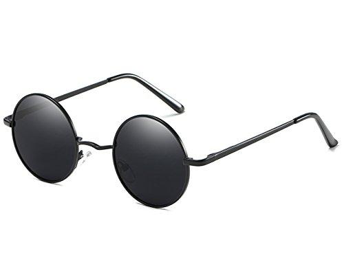 redondo para hombres Steampunk sol Retro polarizadas gafas metálico Hat de Gris Panda 47mm Oscuro círculo inspirado estilo qS44RU