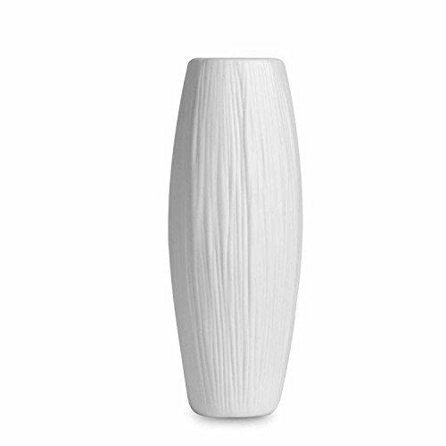 (USATDD Ceramic Vases, Oval Pure White Ceramic Flower Vase Waterfall Textured Modern Elegant Decorative Design for Home Decor Living Room and Office 8'' (Oval White))