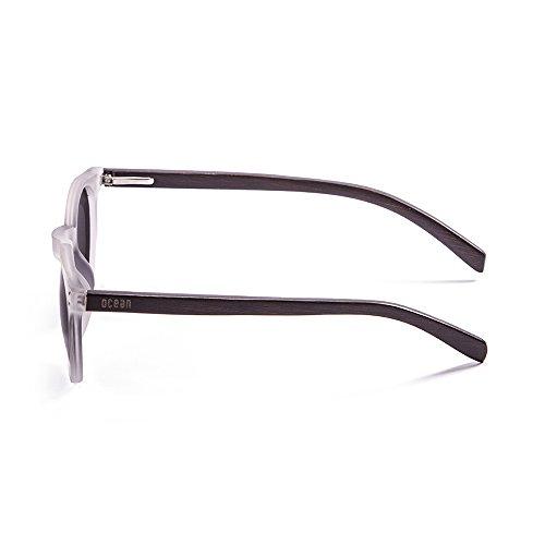 Ocean Sunglasses Lizard Lunettes de soleil White Transparent Frame/Wood Dark Arms/Revo Red Lens