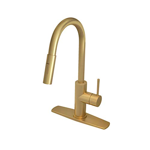 Gold Kitchen Faucet with Pull Down Sprayer, Kitchen Faucet Sink Faucet with Pull Out Sprayer, Single Hole and 3 Hole Deck Mount, Single Handle Copper Kitchen Faucets, Champagne Bronze, FORIOUS ... (Polished Copper Kitchen Faucet)