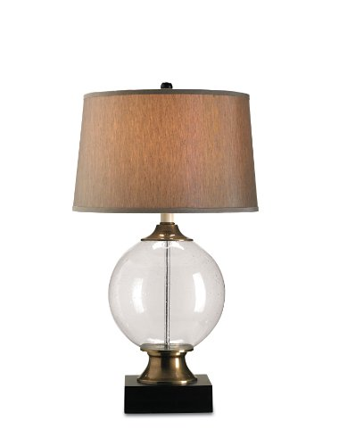 Currey and Company 6981 Motif 1-Light Table Lamp, Seeded Glass and Brass Accents with Silver Shantung Shade, 16″ x 32″ x 32″ For Sale
