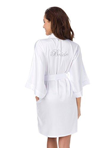 - SIORO Robes for Women Soft Bridal Robe Ladies Kimono Robes Lightweight Satin Sleepwear Wedding Nightgown Solid White M