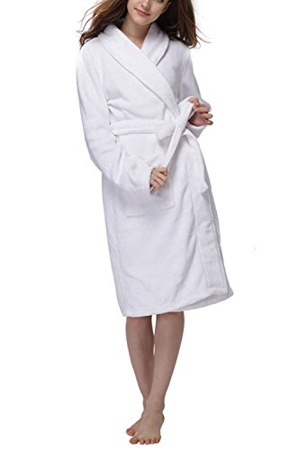 Flannel Robe White (LUXEHOME Women's Ultra Soft 100% Flannel Bathrobe Luxury Shawl Collar Spa Robes (One Size, White))