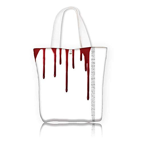 Stylish Canvas Zippered Tote Bag —W23 x H14 x D7 INCH/Grocery Shopping Bag for Women Girls Students Bloody Flowing Blood Horror Spooky Halloween Zombie Crime Scary Help me Themed Illustration es Red