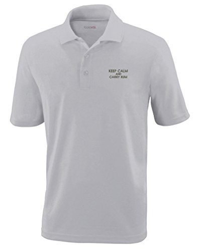 Keep Calm And Carry Rum Embroidery Polyester Performance Polo Shirt Platinum Medium Platinum Rum