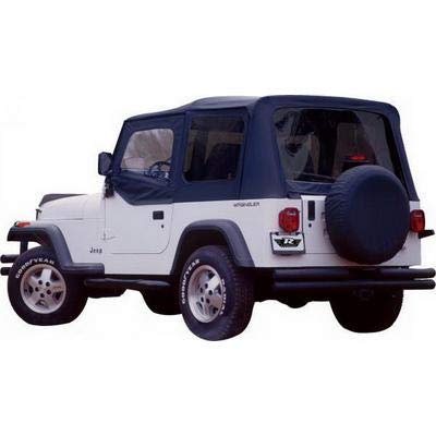 Hardware Top Soft (RAMPAGE PRODUCTS 68215 Complete Soft Top with Frame & Hardware for 1987-1995 Jeep Wrangler YJ, with Soft Upper Doors, Black Diamond w/Tinted Windows)