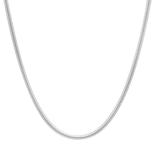 2.4mm Solid 925 Sterling Silver Snake Link Chain Necklace, (Shiny Snake Chain)