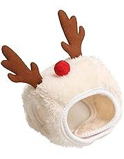 TOTAMALA Dogs Cats Pets Christmas Dressing Supplies Saliva Towels Bibs Hats (White, S)