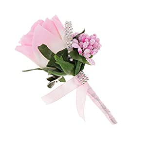 MagiDeal Bridegroom Groomsman Silk Rhinestone Corsage Clip Boutonniere Wedding Decor - Pink 55
