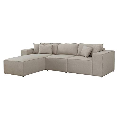 Sectional Sofa with Chaise 4 Piece Set, Reversible Linen Fabric Sofa with Welt (Beige) 2019 Updated Model by Bliss Brands (Best Apartment Sofas 2019)