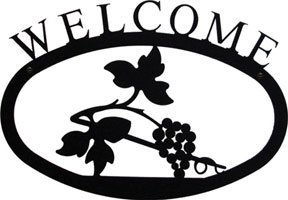 Village Wrought Iron WEL-157-S Small Welcome Sign-Plaque - Grapevine by Village Wrought Iron