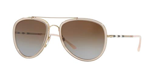 Burberry Unisex 0BE3090Q Brushed Gold/Pink/Polarized Brown Gradient One ()