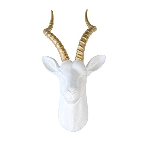 Near and Deer Antelope Head Wall Mount, Large, White/Gold by Near & Deer