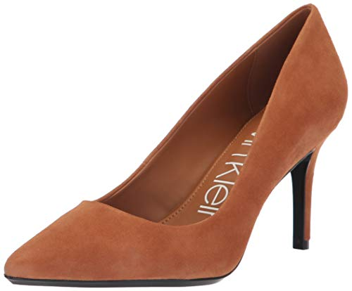 Calvin Klein Women's Gayle Pump, cognac, 9 Medium - Womens Brown Suede Pumps