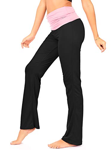DEAR SPARKLE Fold Over Yoga Lounge Stretch Pants Women | Contrasting High Waist Loose Pregnancy Pant Plus (P8) (Pink, 2X-Large)