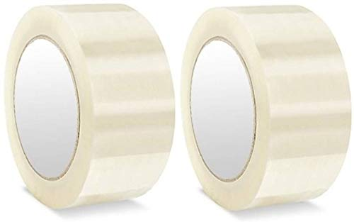 AlexVyan 2 Pcs - 2 inch Width 65 Meter Length High Adhesive Transparent Cello Clear BOPP Tape for Packing Office Company Industry Home Packaging (Pack of 2)
