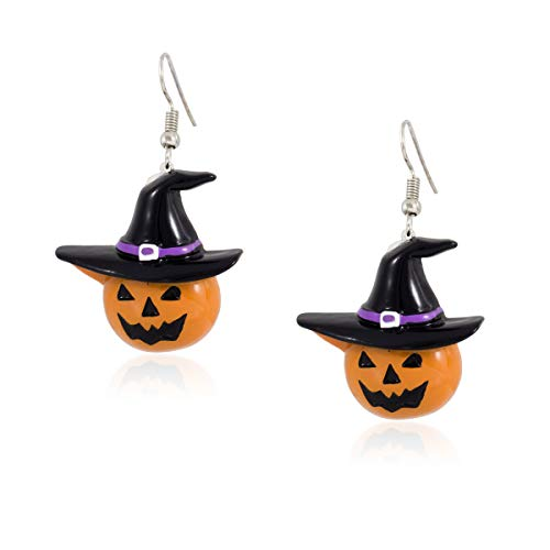 FidaShop New Halloween Pumpkin Witch Hat Dangle Earrings, Lightweight Charms Party Jewelry Costume And Nickel Free Jewelry, Includes Beautiful Gift Box ()