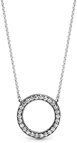 Pandora Jewelry - Circle of Sparkle Necklace in Sterling Silver with Clear Cubic Zirconia, 17.7 IN / 45 CM