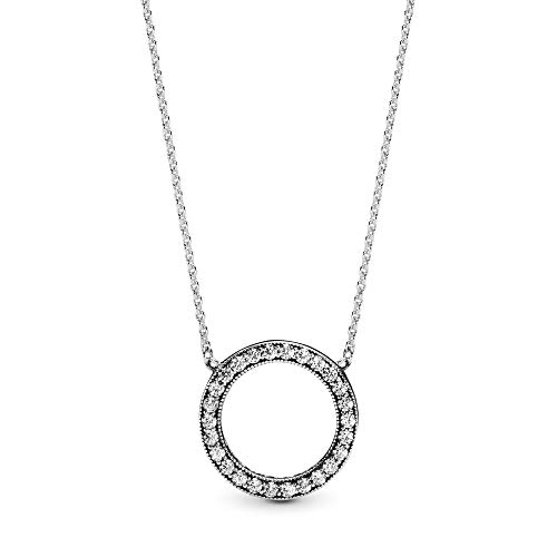 45 Cm Necklace - Pandora Jewelry - Circle of Sparkle Necklace in Sterling Silver with Clear Cubic Zirconia, 17.7 IN / 45 CM