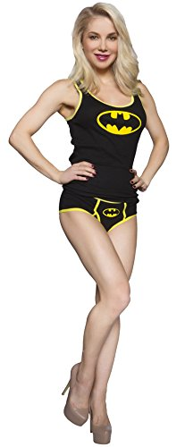 DC Comics Batman Ribbed Tank W/Boy Brief Panty Set (Large) (Womens Batman Underwear)