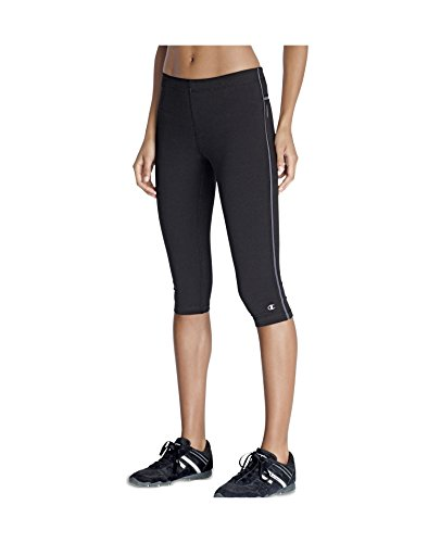 (Champion Women's Power Cotton Fitted Knee Tight, Black/Medium Gray, Small)