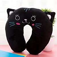 Baby Pillow Multi-Animals Design Plush Super Soft Kids Headrest Neck Protector Travel Toys for 0-4 Years YYT101 : Black Cat