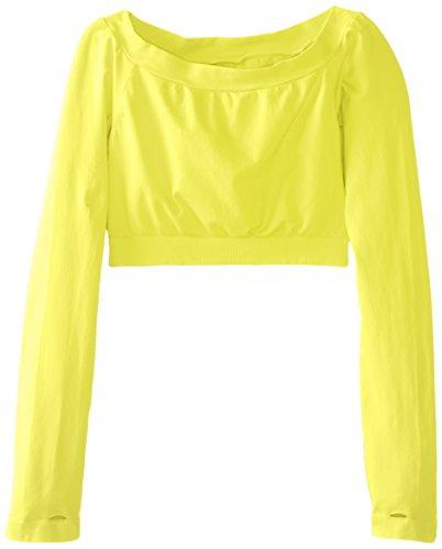 Malibu Sugar Big Girls' Long Sleeve Cropped Tee, Neon Yellow, 7-14