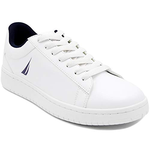 Shoes Low White Top - Nautica Men's Adven Fashion Sneaker, Classic Low Top Loafer, Casual Lace-Up Shoe-Adven-White/Navy J-13