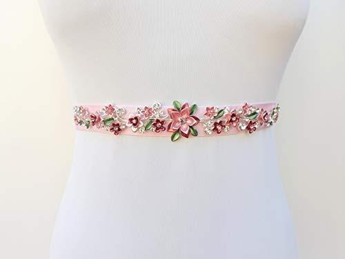 43a1b6cf48706 Amazon.com: Light Pink Floral Embellished Belt. Elastic Waist Belt. Bridal Sash  Belt. Blush Pink Dress Belt. Jeweled Belt.: Handmade