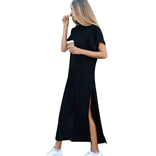 Casual Cotton Shirt Dress for Women, Huazi2 Sexy Side High Slit Black Short Sleeves Maxi Dress ()