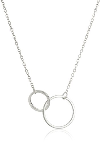 Sterling Silver with Two Circles Pendant Chain Necklace, 16