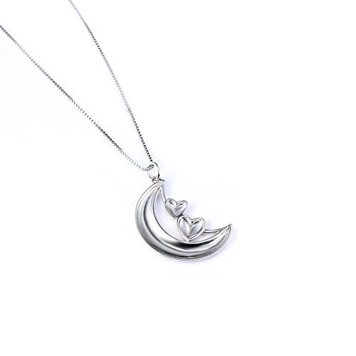 "Sterling Silver ""Always My Sister Forever My Friend"" Lune double cœur Pendentif Collier, 45,7 cm"