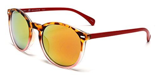 Samba Shades Florence Classic Round Horned Rim Sunglasses with Demi Brown Tortoise, Red Frame, Red Temples, Gold Mirror Lens