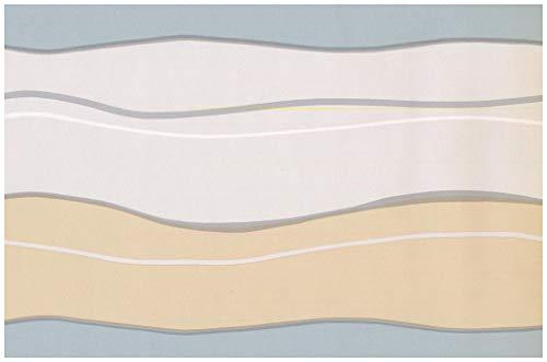 Prepasted Wallpaper Border - Beige Grey Wavy Wall Border Retro Design, Roll 15 ft. x 7 in.