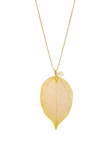 CLORIS TAUTOU Long Necklaces for Women, Real Filigree Leaf Pendant Jewelry Gifts for Women Teen Girls A Golden Leaf with Pearl (Triple Folding Clasp)