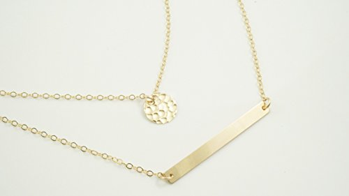Gold Bar Necklace Hammered Necklaces