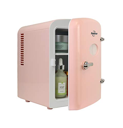 Koolatron KRT04-P Retro Personal Cooler 4 Liter/6 Can AC/DC Portable Mini Fridge, Thermoelectric Cooler in Pink Great for Skincare, Medications, Cars, Homes, Offices, Bedroom and Dorms, ETL Listed