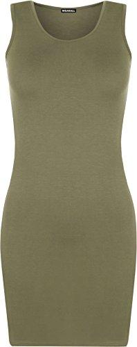 WearAll manches a Femmes dbardeur Vert mini nageur Uni Tailles et robe moulant dos Robes 42 top sans 36 rPAr4wSq