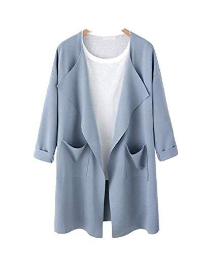 Taglie Taglie Lunga Cardigan Manica Stlie Stlie Grazioso Elegante Forti Hellblau Primaverile Trench Cappotto con Tasche Donna Outerwear Giacche Giovane Solidi Autunno Colori Moda Moda Lunga Xq6wxXtOg