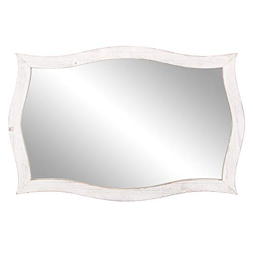 White Scalloped Mirror - Patton Wall Decor 25x36 Whitewash Scallop Framed Accent Wall Mounted Mirrors, White