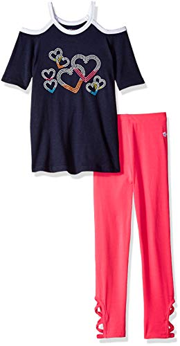 Limited Too Girls' Little 2 Piece Knit Top and Legging Fashion Set, Hearts Multi Color, 6